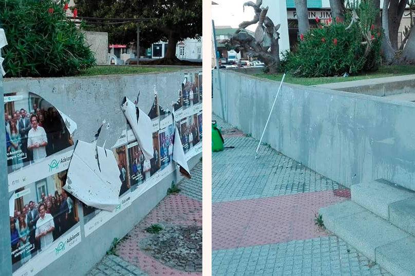 Miembros de Adelante Cádiz limpian la ciudad de su propia publicidad electoral